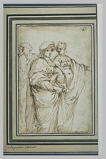 Deux femmes drapées et deux hommes à l'arrière-plan