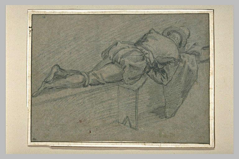 Homme étendu sur un banc, à plat ventre, de dos