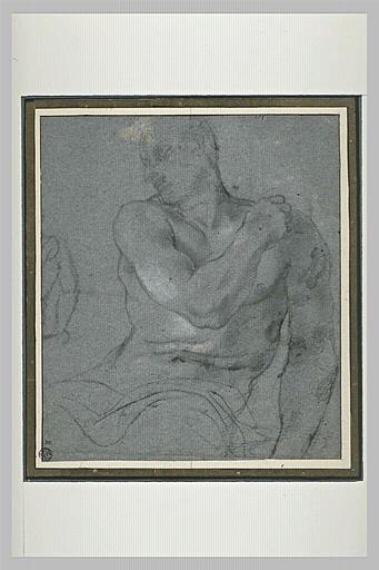 Demi-figure d'homme nu, assis, la main droite sur l'épaule gauche