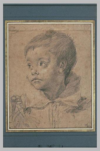 Buste d'enfant, la tête tournée de trois quarts vers la gauche