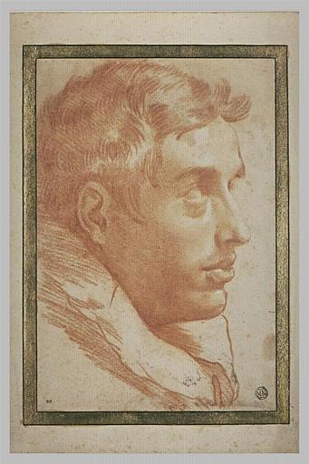 Tête d'homme, vue de profil, tournée vers la droite