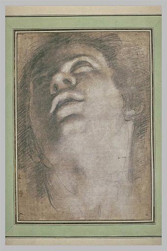 Tête de jeune homme, vue par en-dessous, regardant vers le haut