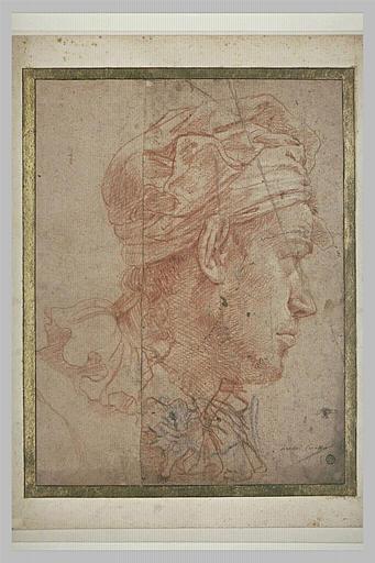 Tête d'homme vue de profil, coiffé d'un foulard