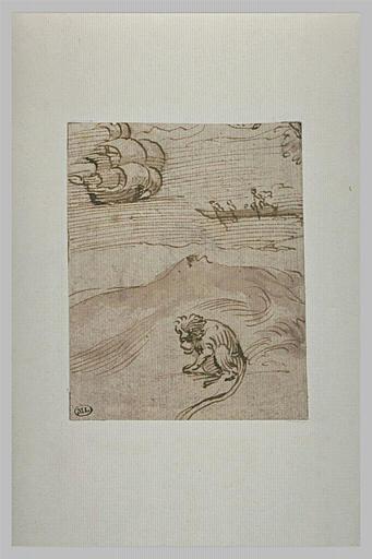 Un singe assis sur une dune, avec, au loin, un voilier et une barque