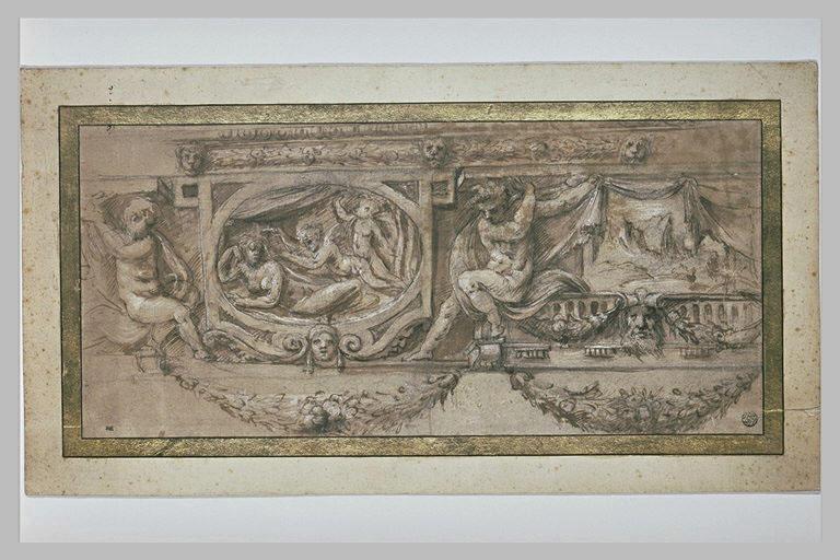 Frise à deux compartiments, ornée de figures et de guirlandes