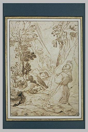 Saint François en prières, dans un paysage