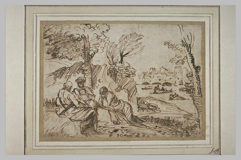 Paysage avec trois hommes sous un arbre, une ville et un fleuve au loin
