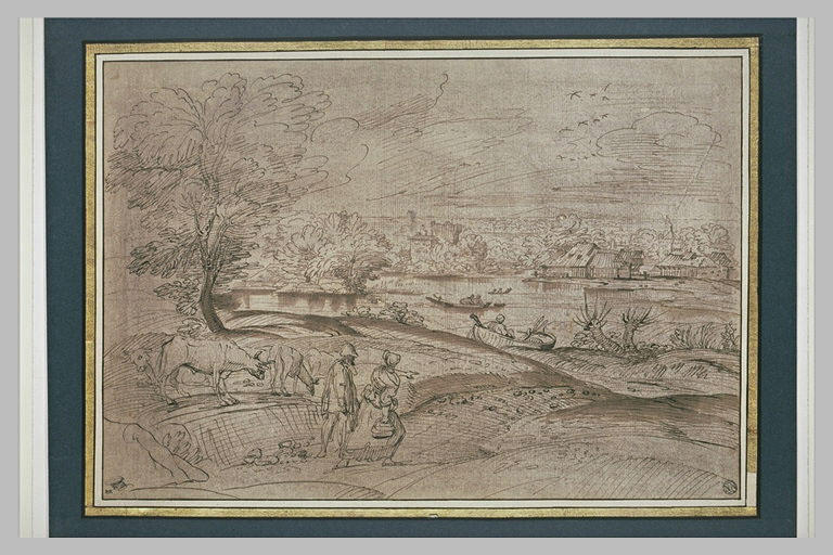Vaste paysage de plaine, avec un couple de paysans et leurs boeufs