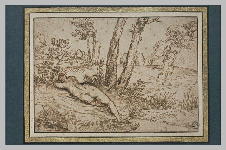 Dans un paysage, une nymphe endormie, et un faune enlevant une nymphe