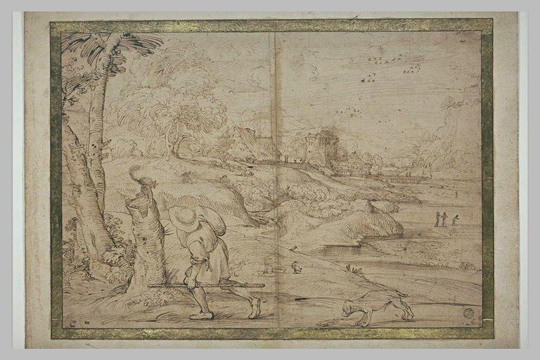 Paysage avec une ville au bord d'une rivière, et un homme suivi de son chien