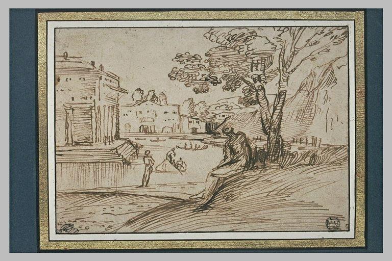 Paysage avec des maisons au bord d'une rivière, et deux barques