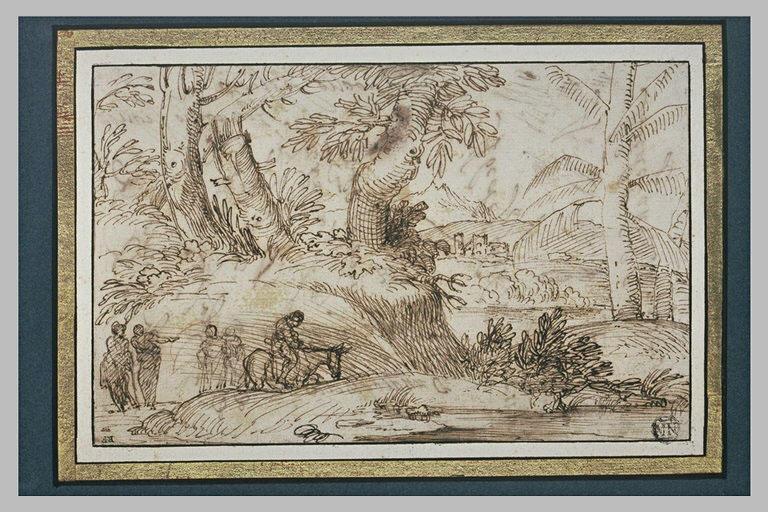 Dans un paysage, figures regardant passer un homme à cheval