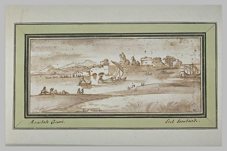 Paysage avec une rivière baignant des fortifications