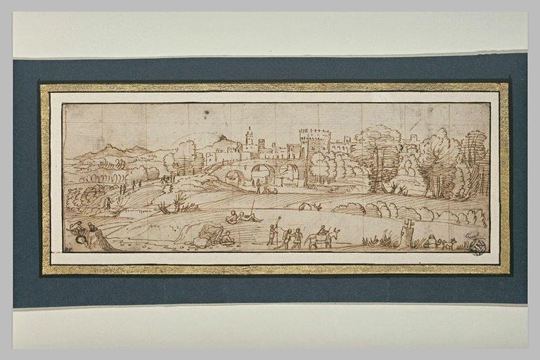 Vue d'une ville traversée par une rivière, dans un paysage