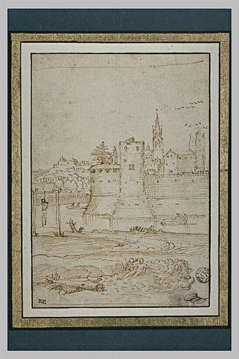 Devant une cité fortifiée, un pendu et d'autres figures