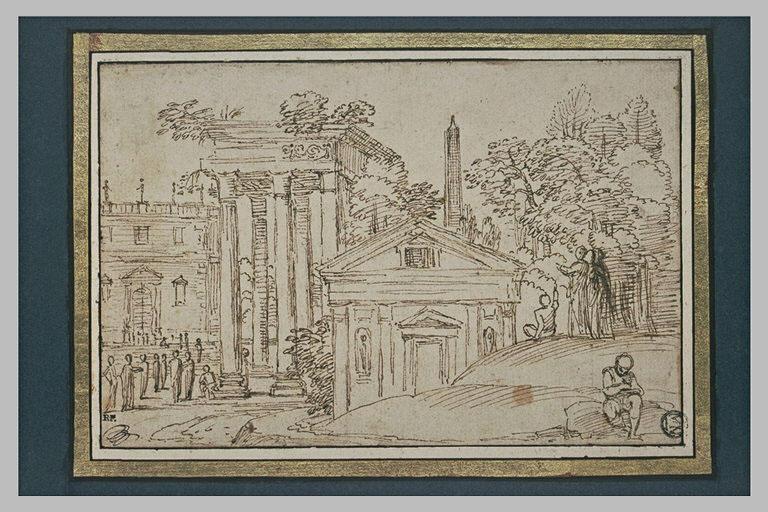 Paysage avec des monuments antiques, et des personnages conversant