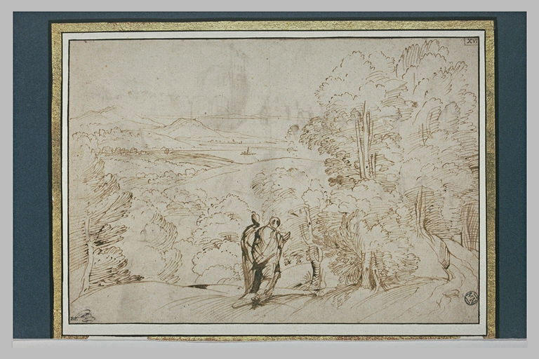 Deux personnages marchant sur un chemin dominant une plaine