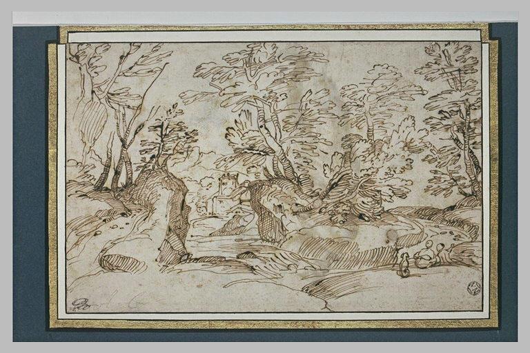Dans un paysage rocheux, deux figures assises conversant au bord d'un chemin
