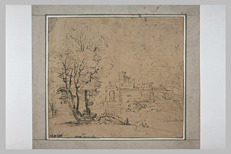 Paysage avec un bosquet d'arbres, et une cité fortifiée