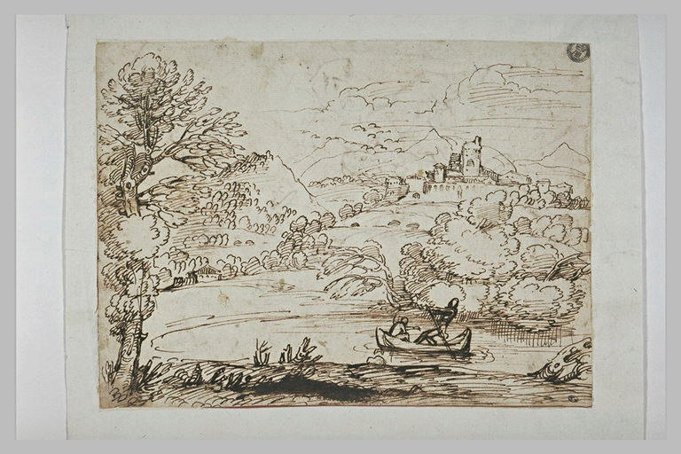 Paysage avec une barque montée par deux hommes, et un château au loin