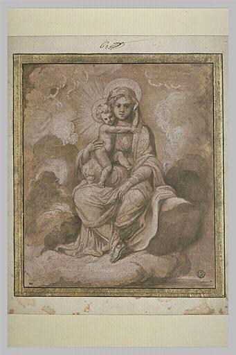La Vierge assise avec l'Enfant Jésus, sur des nuages
