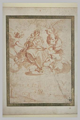 La Vierge et l'Enfant Jésus sur des nuages, adorés par les anges