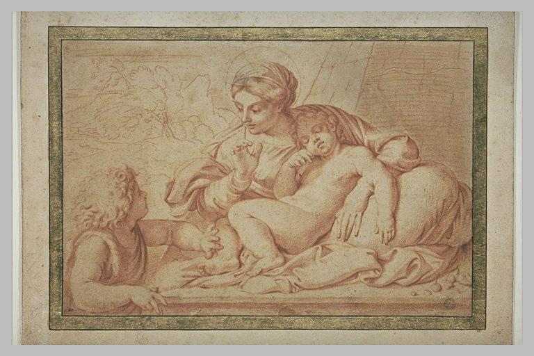 La Vierge au Silence : elle tient l'Enfant Jésus endormi entre ses jambes