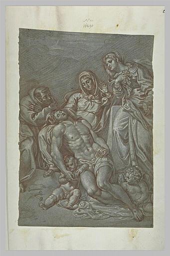 Le Christ sur les genoux de la mère, deux anges montrant ses plaies
