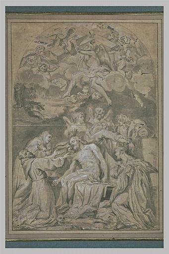 Déploration du Christ mort par la Vierge, des anges et des saints