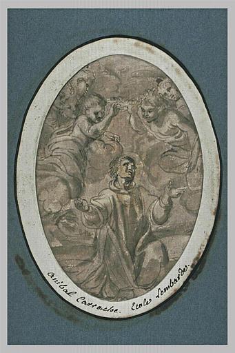 Un saint diacre à genoux, en extase