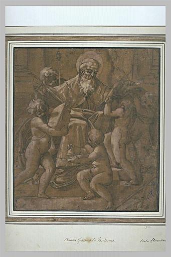 Saint Antoine assis sur un trône, entouré d'anges