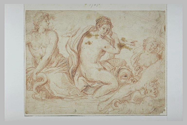 Femmes nues, montées sur des monstres marins