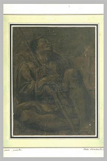 Mendiant assis à terre, tenant un bâton