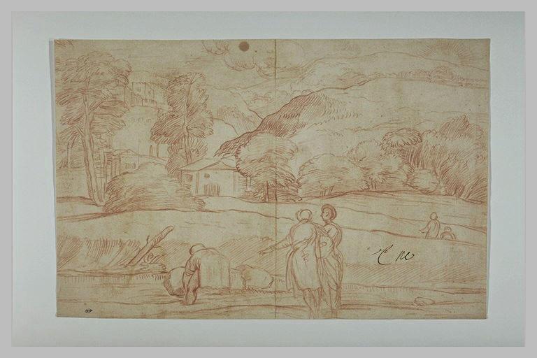 Dans un paysage, deux figures regardant un homme soulever un fardeau