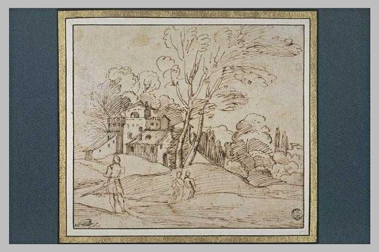 Dans un paysage, devant une ferme fortifiée, trois figures