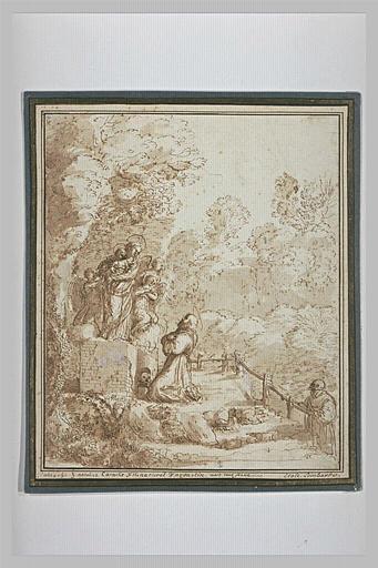 Dans un bois, saint moine adorant une Vierge à l'Enfant sur un piédestal
