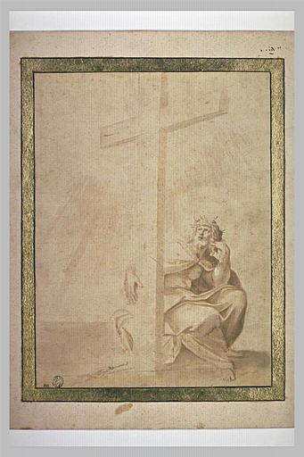 Le Christ de douleur assis tenant la croix