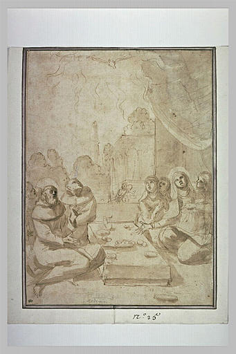 Saint François et sainte Scholastique faisant un frugal repas