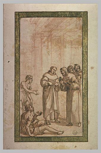 Un saint faisant l'aumône