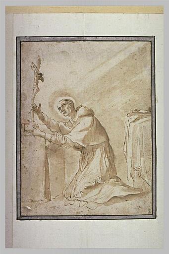 Saint Charles Borromée en prière devant le crucifix