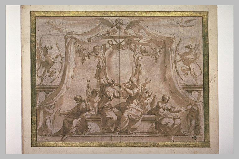 La Religion, la Paix, la Tempérance, la Noblesse et deux écussons