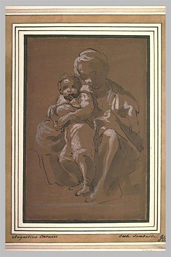 Femme assise à terre, tenant un enfant entre ses genoux : Vierge à l'Enfant?