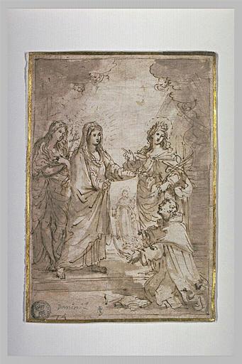 Vierge entourée de deux saintes présentant le Saint Suaire à un religieux