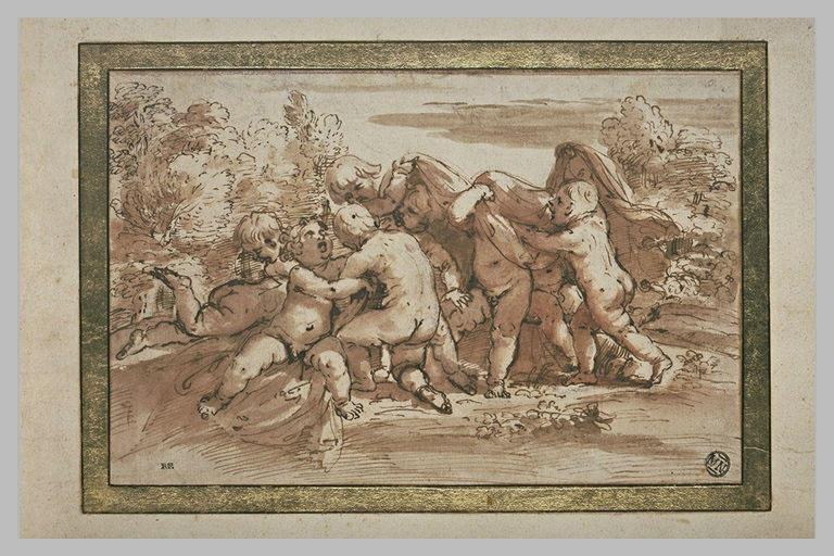 Plusieurs enfants jouant ensemble dans un paysage