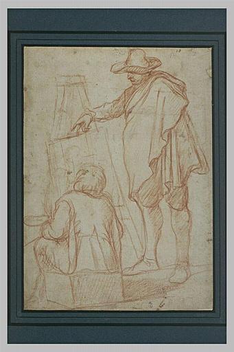 Jeune garçon assis devant un chevalet, peignant, observé par un homme