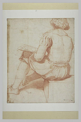 Jeune homme assis, de dos, une palette à la main