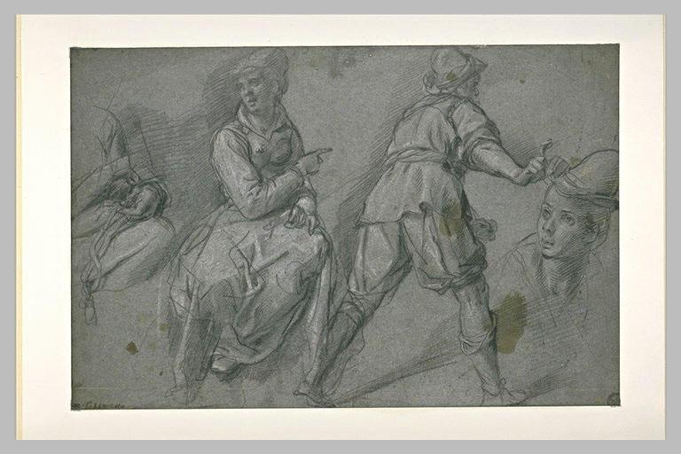 Etudes d'une femme assise, d'un homme de dos, d'une tête et d'une figure