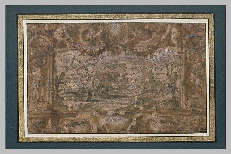 Encadrement décoratif avec putti et armoiries encadrant un paysage_0