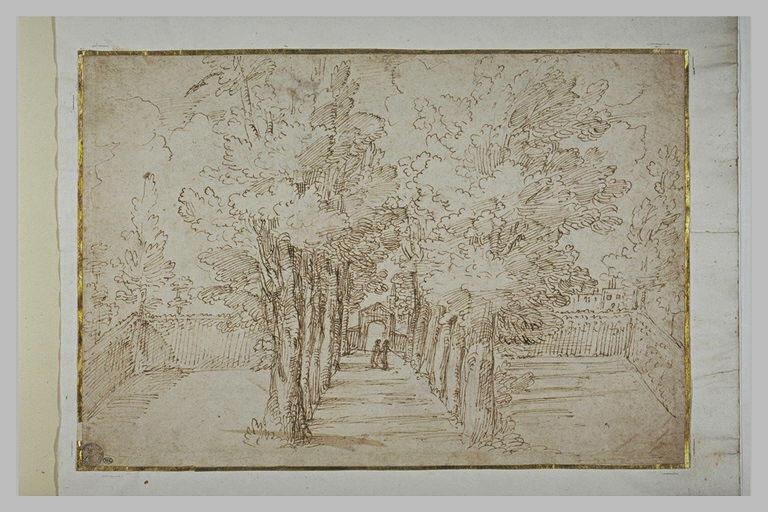 Paysage avec deux figures dans une allée d'arbres conduisant à un domaine
