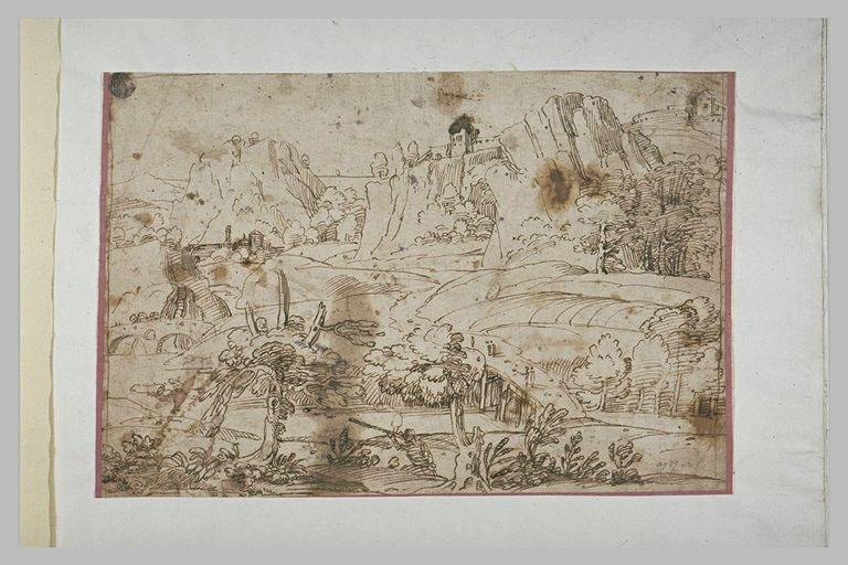 Paysage avec un chasseur et de nombreuses falaises